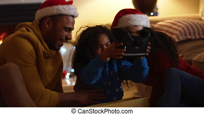 Family at home at Christmas time - Front view close up of a ...