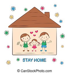 Stay home. Home quarantine to prevent coronavirus pandemic. Cute cartoon family, mom, dad, daughter. Healthcare concept, virus protection. Vector illustration