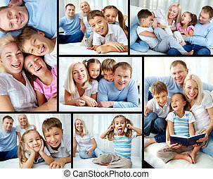 Family at leisure - Collage of happy family resting at home