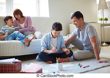 Family at leisure - Portrait of friendly family spending...