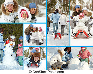 Family at leisure - Collage of happy kids and their parents...