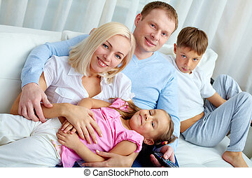 Family at leisure - Portrait of happy family with two...
