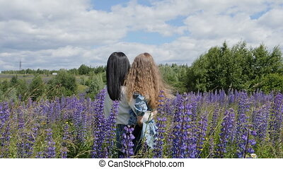 Family at nature. A little girl with her mother walks through a field of lupins. Beautiful blooming flowers in summer.