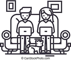family at sofa working on laptops with cat vector line icon, sign, illustration on background, editable strokes