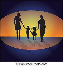 Family at sunset background