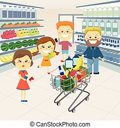 Family at the grocery store.