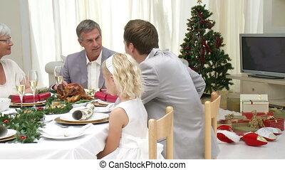 Family at their Christmas Eve Dinner