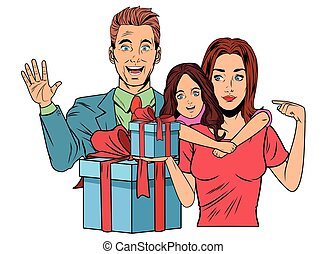 family avatar with gift box