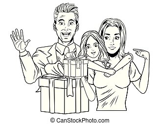 family avatar with gift box in black and white