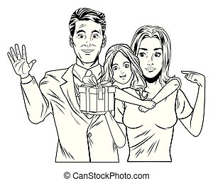 family avatar with gift box in black and white pop art