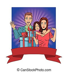 family avatar with gift box pop art