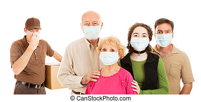Family wearing surgical masks to protect from an epidemic, as a delivery man with the flu approaches. Banner isolated on white.