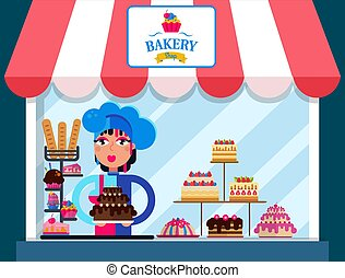 Family bakery shop vector illustration. Confectioner girl woman holding delicious chocolate cake. Bakery sign board. Counter with various sweets cakes and cookies.
