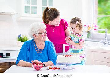 Family baking a pie