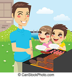 Family Barbecue Party - Father grilling meat and hungry...