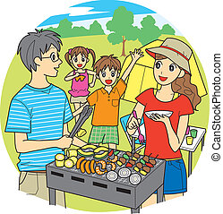 Family barbecue  - young family, barbecue, vector