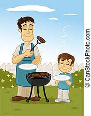 Fother and son making barbecue in the backyard vector cartoon illustration.