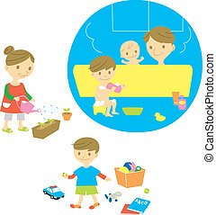 Family, bathing, watering, playing