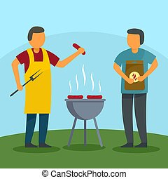 Family bbq holiday at home background, flat style