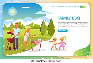 Family bbq landing page website vector template