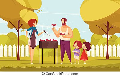 Family BBQ Outdoors Composition
