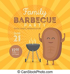 Family BBQ Party Invitation Template. Cute Steak Character Barbecue Time. Retro Background Vector Illustration