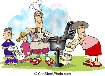 This illustration depicts a family barbeque.