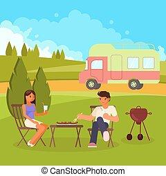 Family bbq vector flat style design illustration