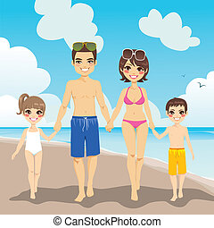 Family Beach Vacation - Happy family enjoying beach vacation...