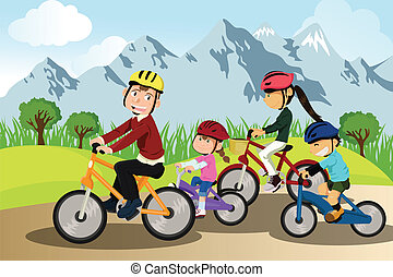 Family biking - A vector illustration of a family biking ...