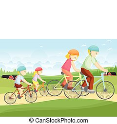 Family biking - A vector illustration of a family biking...