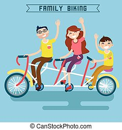 Family Biking. Family Riding a Bicycle. Triple Bicycle. Tandem Bicycle. Happy Family. Modern Lifestyle. Vector illustration