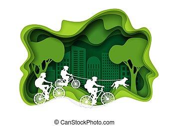 Family biking, vector layered paper cut style illustration