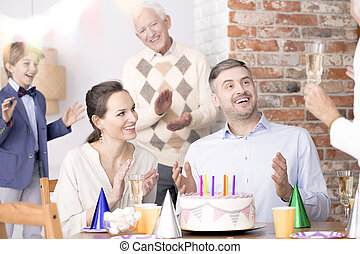 Family birthday party for a dad