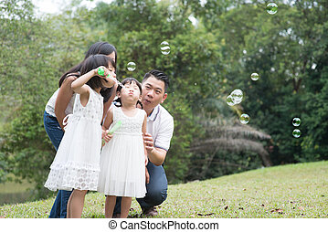 Family blowing soap bubbles at park