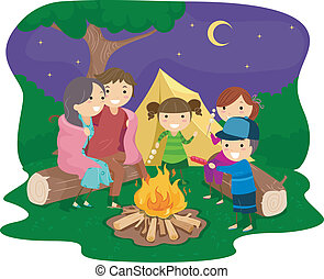 Family Bonfire - Illustration of a Family Gathered Around a...