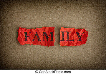 Family breakdown. Ripped piece of paper with the word Family