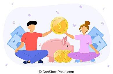 Family budget concept wit couple doing finances