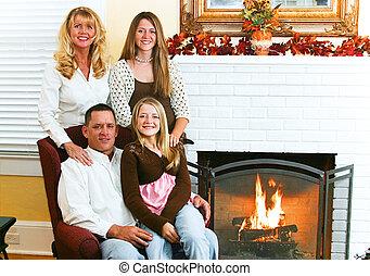 Family By Fireside
