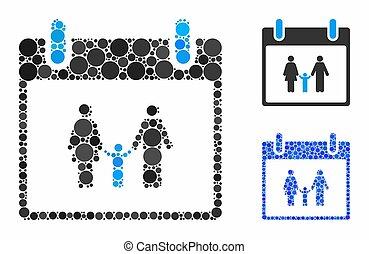 Family calendar day Composition Icon of Circles