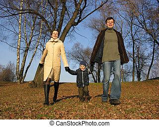 family., camminare, 2, legno