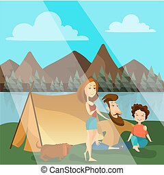 Family camping concept vector illustration