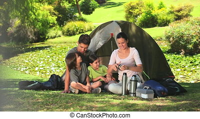 Family camping in the countryside