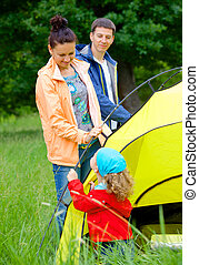 Family camping in the park