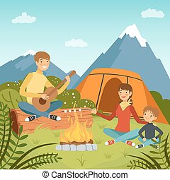 Family camping in the wood near big mountains. Nature vector background illustrations