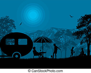Family camping on beautiful campsite at blue night, vector illustration
