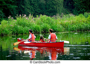 Family canoe river - Family of three canoing on a calm river