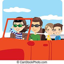 Family on a convertible car enjoying summer vacation excursion