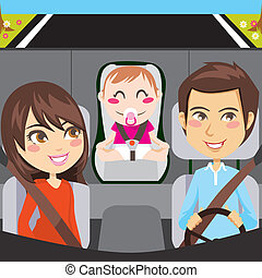 Family Car - Happy family sitting inside car driving through...