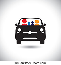 family & car icon: father, mother, son & baby girl on travel & tour - concept vector.